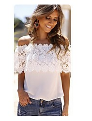 Women's Sexy/Beach/Casual/Lace Off-the-shoulder/Strapless Sleeveless Tops & Blouses (Lace/Silk)