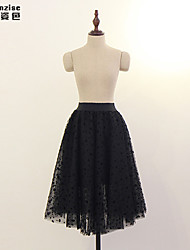 Women's Black Skirts , Casual Knee-length