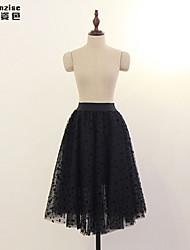 Women's Black Skirts , Casual Knee-length