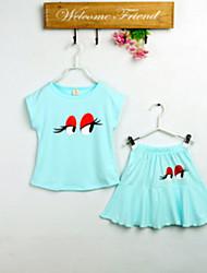 Kids clothes baby girls set summer 2015 new fashion print girl dress children chothing set sweater+ short skirt 3~9 year