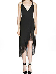 Women's Sexy Beach Casual Party Work V Neck Strap Halter Fringed Slim Dress