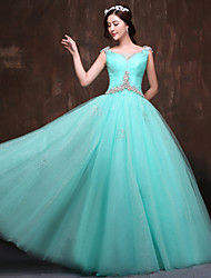 Formal Evening Dress Petite Ball Gown Scoop Floor-length Satin / Tulle / Polyester with Beading / Crystal Detailing / Ruching