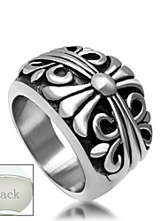 Personalized Father's Day Gift Jewelry Stainless Steel Silver Irises Pattern Men's Ring