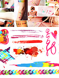 1 PC Tattoos Sticker Watercolor Mixed  for Body Makeup S006