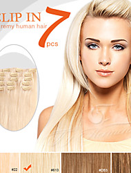 """7 Pieces 18"""" 100g Clip in Ty.Hermenlisa 100% Peruvian Remy Human Hair Light Color"""