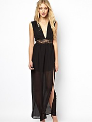 Women's Black Dress , Casual/Lace/Party Deep V Sleeveless Lace