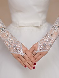 Lace Elbow Length Wedding/Party Glove Sequins Rhinestones