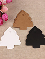 10pcs Christmas Tree Kraft Paper Hang Tag Lable Bookmark for Gift Bakery Favors Price Cards Wedding Party (More Colors)