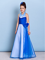 Floor-length Organza / Taffeta Junior Bridesmaid Dress A-line Halter with Beading / Bow(s) / Criss Cross