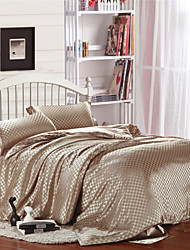 Imitation Silk Light Coffee Checked Duvet Covers