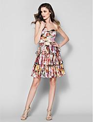 TS Couture Formal Evening Dress - A-line Sweetheart Knee-length Satin Chiffon