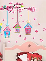 adesivos de parede decalques de parede, criativo birdcage rosa parede pvc etiquetas