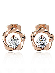 T&C Women's Concise Style Austrian Crystal Flower Stud Earrings Fashion Stellux Cubic Zirconia Jewelry