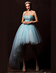 Formal Evening Dress - Sky Blue Plus Sizes A-line Sweetheart Asymmetrical Tulle
