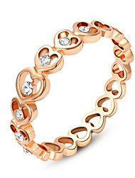 T&C Women's 18K Rose Gold Plated Clear Shining Austria Crystal Sweet Heart Finger Ring