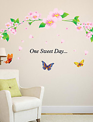 Wall Stickers Wall Decals Style Flower Rattan Butterflies Cartoon PVC Wall Stickers