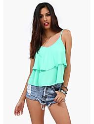 Damen Solide Einfach Lässig/Alltäglich T-shirt Sommer Ärmellos Rosa / Weiß / Grün / Orange Baumwolle Dünn