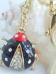 Pretty Black Ladybug Key chain With  Clear Rhinestone crystals