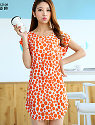 Women's Beach Shift Dress,Print Round Neck Above Knee Short Sleeve Orange Polyester / Spandex Summer