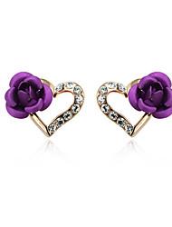 HKTC Purple Rose Flower Heart Stud Earrings 18k Rose Gold Plated Austrian Crystal Jewelry