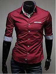 Camisa Casual ( Algodão/Raiom ) MEN - Vintage/Casual/Pesta/Trabalho 3/4 de Comprimento de Manga