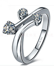 Unique Design Three Stones Jewelry Sterling Silver Ring Engagement SONA Simulate Diamond Ring for Women Platinum Plated