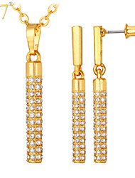 U7® Women's Simple Bar-Type Drop Earrings Clear Crystal 18K Real Gold/Platinum Plated Party Pendant Necklace Set