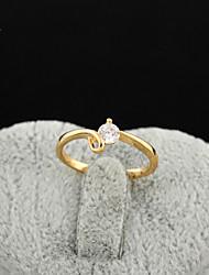 KuNiu Women's High Quality Classic 18K Gold Plated White Zircon Wedding Rings J0311