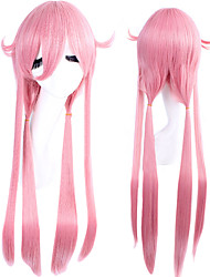 Perucas de Cosplay Diário futuro Gasai Yuno Rosa Longas / Reto Anime Perucas de Cosplay 80 CM Fibra Resistente ao Calor Feminino