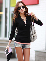 Women's Solid White/Black/Green/Gray T-shirt , V Neck Long Sleeve