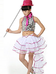 Performance Outfits Children's Polyester/Organza Pleated/Sequins Dovetail Outfit Fuchsia/Yellow Kids Dance Costumes