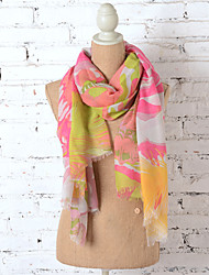 Women 100%Polyester Printing Romantic Abstract Scarf
