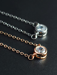 Cute/Party/Work/Casual Rose Gold Plated/Sterling Silver/Cubic Zirconia Pendant Necklace