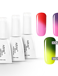 Azure 3 Pcs/Lot Chameleon Temperature Changing Colour Soak Off UV Gel Nail Polish Set(12ml,#07+#08+#09)