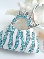 bolsa pingente chaveiro com cristais de strass turquesa