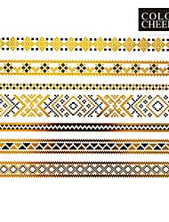 Tatuajes Adhesivos - Modelo - Series de Joya - Mujer/Girl/Adulto/Juventud - Dorado - Papel - #(1) - #(23x15) - #(Chinese classical)