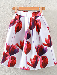 Women's Floral Print Elegent Pleated Flare Skirt