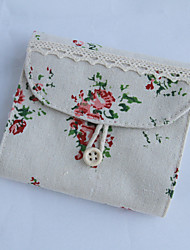 New Flower Floral Cotton and Linen Purse with  A Button