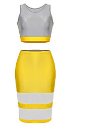 Women's Yellow/Gray Dress , Sexy/Bodycon Sleeveless