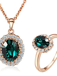 T&C Women's Emerald Elegant Cz Diamond Jewelry Set 18K Rose Gold Pated Green Crystal Pendants Necklaces Ring