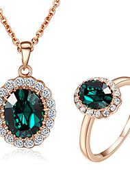t&c esmeralda elegante diamante de la CZ de la joyería de 18k de las mujeres de oro rosa de verde cristal anillo colgantes collares