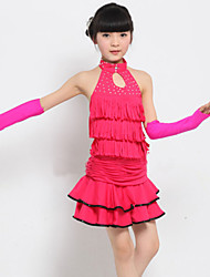 Latin Dance Performance Outfits Children's Performance Polyester Sweet Pleated Outfit Fuchsia/Yellow Kids Dance Costumes