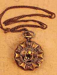 cas fleur montre de poche avec vintage quartz long collier chaîne pendante