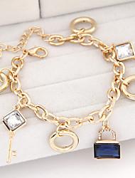 Women's Fashion Key Lock Alloy Charm With Rhinestone Bracelet