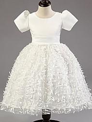 Princess Tea-length Flower Girl Dress - Satin/Tulle Short Sleeve