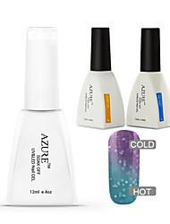 Azure 3 Pcs/Lot Soak Off Color Changing LED UV Nail Gel Polish Color Gel Manicure Nail Gel(#27+BASE+TOP)