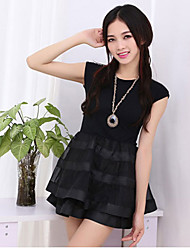 Women's Casual/Daily Sexy / Cute A Line Dress,Patchwork Round Neck Mini Sleeveless Black / Gray Cotton Summer