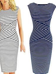Tracy Women's Work Round Sleeveless Dresses (Polyester)