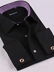 mens shirt, nouvelle Fit robe de bouton de manchette chemises français chemises à manches longues pour hommes occasionnels mince pour les