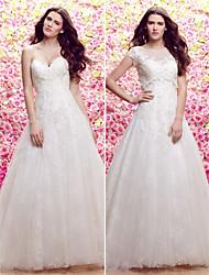 lan ting vestido de noiva uma linha / princesa - varredura marfim / trem escova scoop laço / tule